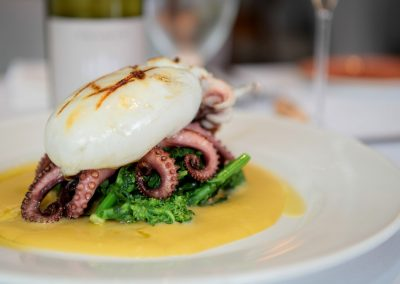 TERRA MARE Grilled Baby Octopus & Cuttlefish, with Broccoli Rabe, in a bed of Fava Bean Purée